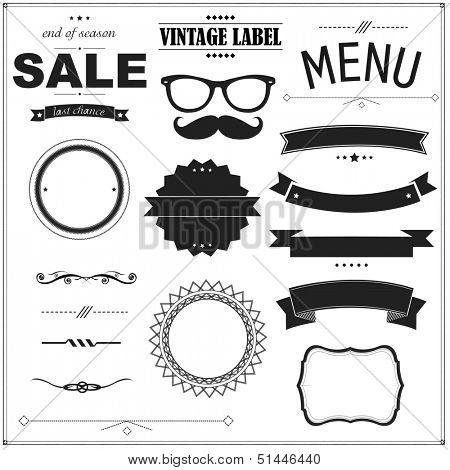 Set Of Vintage Black Badges, Vector Illustration