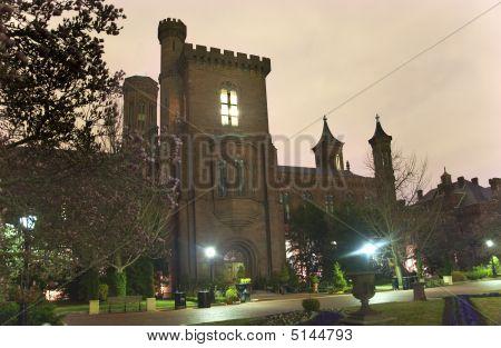 Smithsonian Castle Garden Night Washington Dc