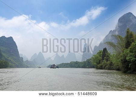 Lijiang River In Misty And Cloud