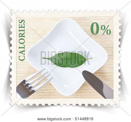 Etiqueta para varios nutrición saludable dieta productos anuncios estilizado como sello de correos