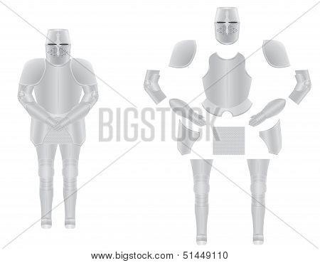 Knight Armor Disassembled Vector Illustration