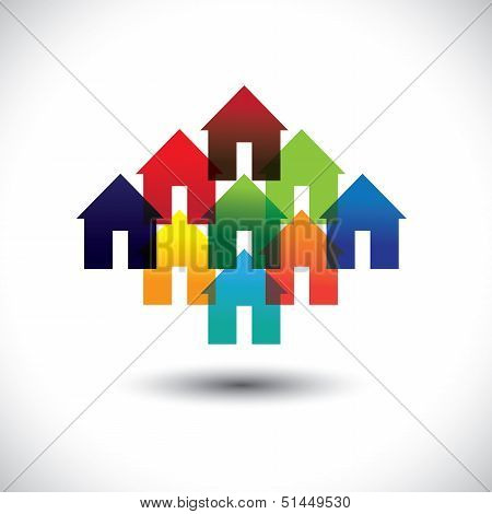 Concept Vector Real Estate Business Icons Of Colorful Houses