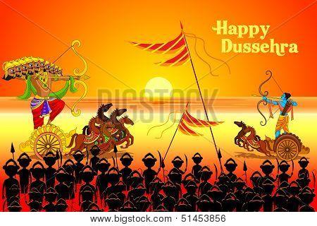 Rama killing Ravana in Dussehra