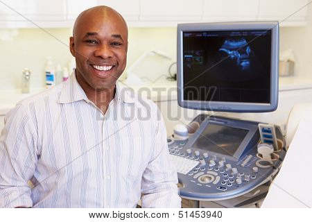 Portrait Of 4D Ultrasound Scanning Machine Operator