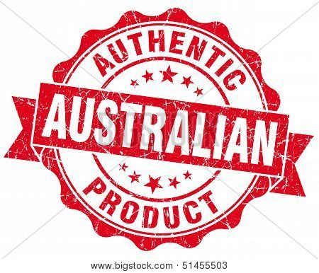 Australian Product Grunge Red Stamp