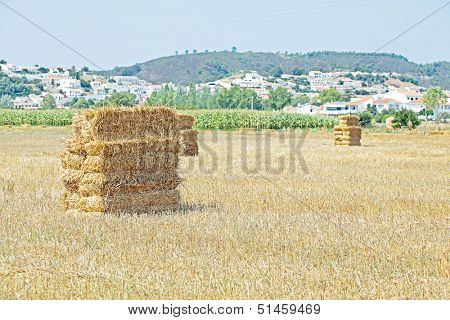 Haybales in the fields near Aljezur in Portugal