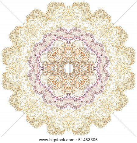 Round Lace Ornament Isolated On White.