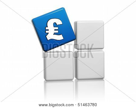 Pound Sign In Blue Cube On Grey Boxes