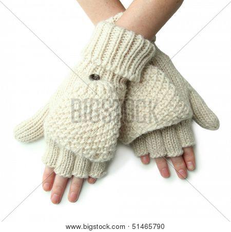 Hands in wool fingerless gloves, isolated on white