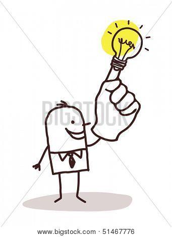 man with light bulb on finger
