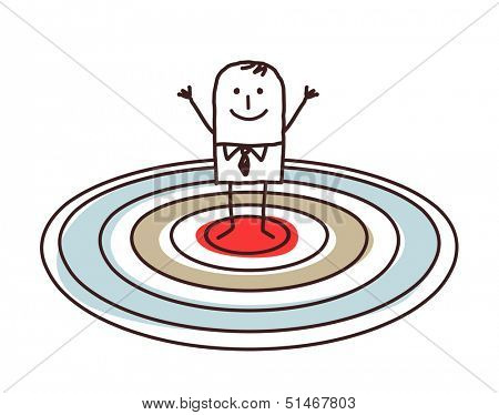 man standing on a big target