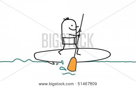 man & stand up paddle