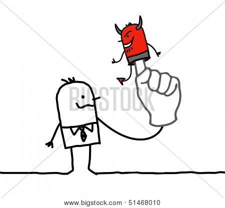 man with puppet devil on finger