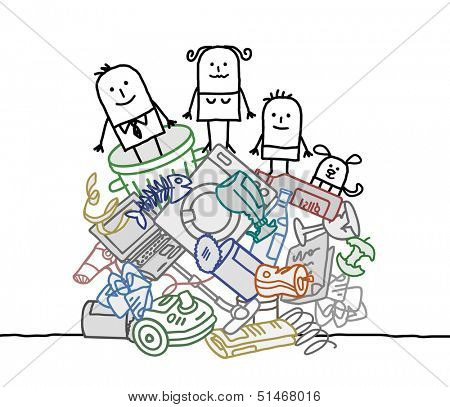 family on a pile of garbage