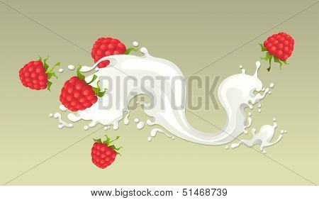 Milk splash with raspberries