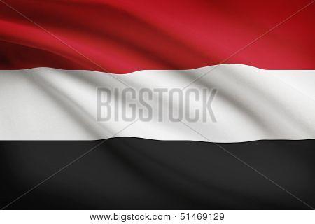 Series Of Ruffled Flags. Republic Of Yemen.
