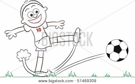 Cartoon Soccer Player Kick