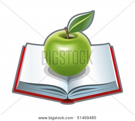 Cookbook with green apple