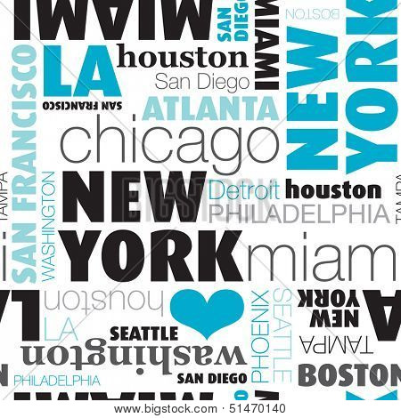 Seamless USA city typography background on white pattern in vector