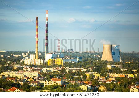 KRAKOW, POLAND - SEP 5: Top view of the industrial district, Sep 5, 2013 in Krakow, Poland. As of 2013 Krakow is the 4th industrial city in country, dominated metallurgy, tobacco and pharmaceuticals.