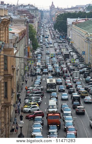 ST.PETERSBURG, RUSSIA - JUN 27: Cars stand in traffic jam on the city center, Jun 27, 2013, SPb, Russia.