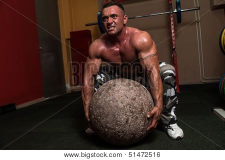 Bodybuilder Trying A Strongman Exercise