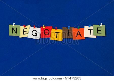 Negotiate - Business Sign