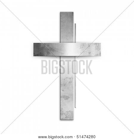 Silver christian cross against white background