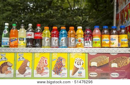 Soft beverages and ice cream at vendors cart in Central Park