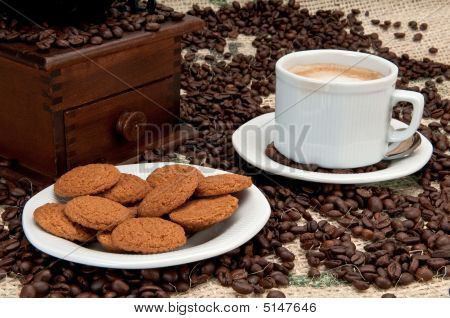 Ginger Cookies And Espresso Coffee