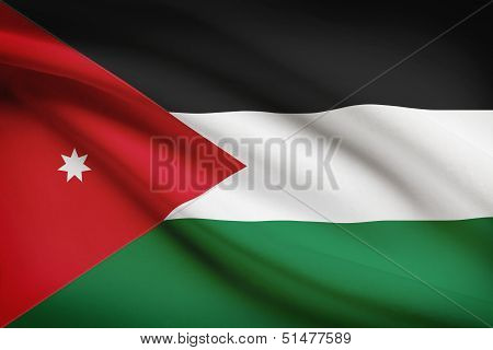 Series Of Ruffled Flags. Hashemite Kingdom Of Jordan.