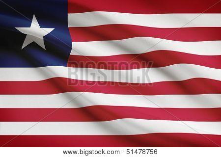 Series Of Ruffled Flags. Republic Of Liberia.