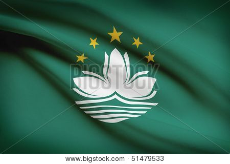 Series Of Ruffled Flags. Macao Special Administrative Region Of The People's Republic Of China.