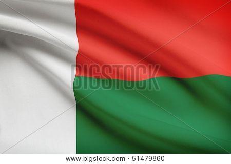 Series Of Ruffled Flags. Republic Of Madagascar.