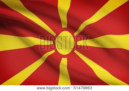 Series Of Ruffled Flags. Republic Of Macedonia.