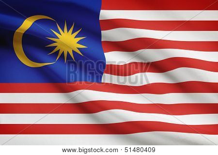 Series Of Ruffled Flags. Malaysia.