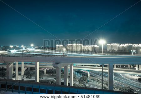 Viaduct At Night With Cool Tone