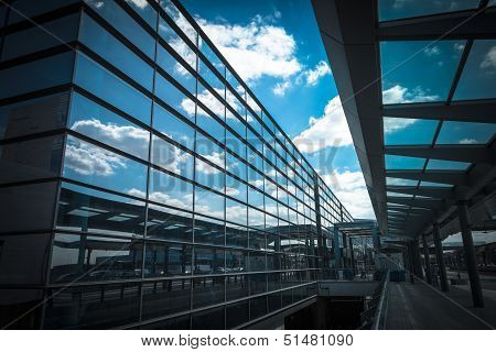 Sky Reflection In The Airport Terminal