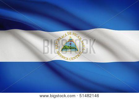 Series Of Ruffled Flags. Republic Of Nicaragua.