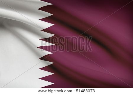 Series Of Ruffled Flags. State Of Qatar.