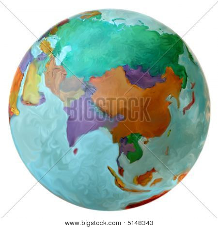 Eastern Hemisphere On The World Globe Middle East Russia Asia