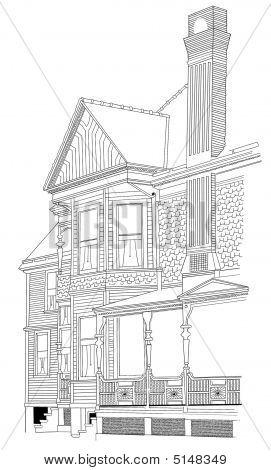 Grandmas House Victorian Home Sketch