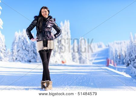 Young Woman On Winter Holidays