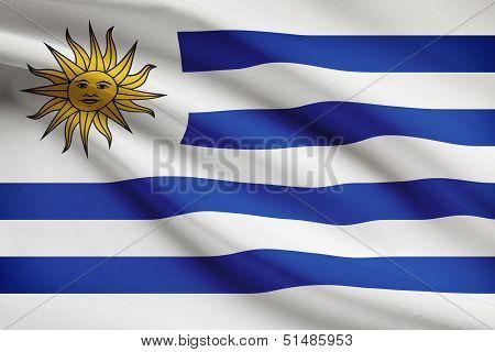 Series Of Ruffled Flags. Oriental Republic Of Uruguay.