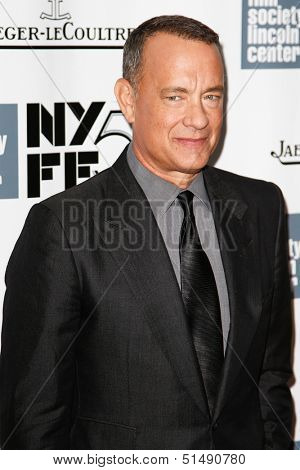 "NEW YORK-SEP 27: Actor Tom Hanks attends the opening night gala of the 2013 New York Film Festival at the premiere of ""Captain Phillips"" at Alice Tully Hall on September 27, 2013 in New York City."