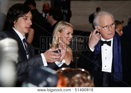 NEW YORK-SEP 27: (l-r) Adam Driver, Naomi Watts and Charles Grodin filming