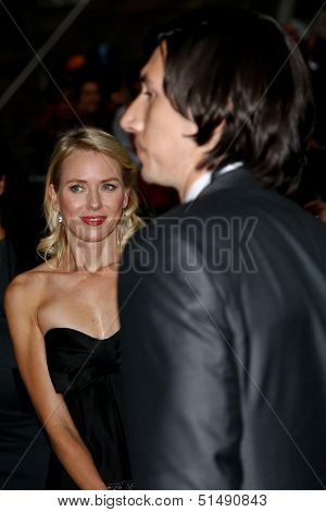 NEW YORK-SEP 27: Actor Adam Driver (r) and Naomi Watts are seen filming