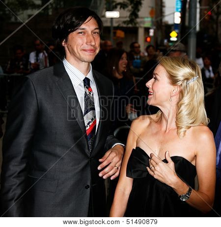 NEW YORK-SEP 27: Actor Adam Driver (l) and Naomi Watts are seen filming