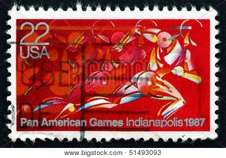 Postage Stamp Usa 1987 Runner In Full Stride