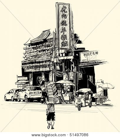 Vector illustration - view of chinatown in Bangkok (all chinese characters are fictitious)